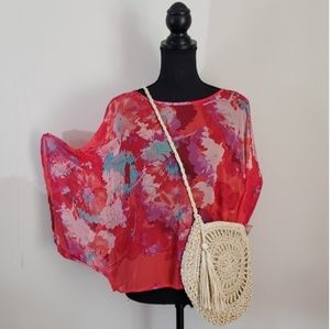 a.n.a Pink & Red Sheer Dolman Sleeve Top Large